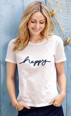 Shirt für 12,95€ - Don't worry, be happy! Dieses T-Shirts ist aus reiner Bio-Baumwolle gefertigt. Es liegt locker am Körper, hat einen abgerundeten Saum und ist hinten länger geschnitten.