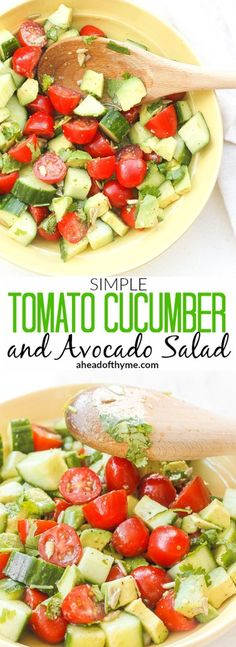 Simple Tomato Cucumber and Avocado Salad: Craving something light and…