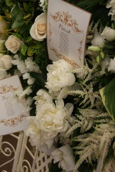 Flower Design Events: Floral Seating Plan for a Wedding at The Inn at Whitewell