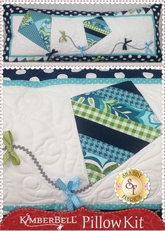 Kimberbell Pillow Kit (Pre-fused/Laser Cut) - Let's Go Fly A Kite: The adorable interchangeable pillow cover by Kimberbell Designs is perfect for June! Kit includes the pattern, all fabrics, embellishments and laser-cut applique pieces.