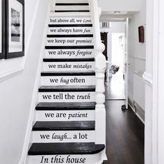 Stair Decals Quotes Stairway Decals Quote - In This House We Do - Vinyl Stickers lettering Family Home Decor Staircase Decal ZX229 by IncredibleDecals on Etsy https://www.etsy.com/listing/253884953/stair-decals-quotes-stairway-decals