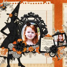 Cool layout for Halloween scrap booking.