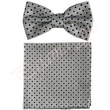 MEN'S NEW Polka Dots Pre-tied Bow tie and Pocket Square Hanky Wedding Party Prom