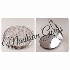 'Glamour Girl Round Compact Mirror' $15 • Comes in 3 Styles: Crystal Embellished, Glitter Iridescent & Jade Diamond available at www.madisongems.com