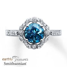 Blue Topaz Ring 1/3 ct tw Diamonds 14K White Gold