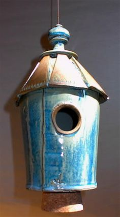 Stoneware Cottage Birdhouse  Weather-proof for year-round use, make a great roost for winter nights!