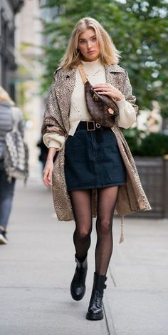 Elsa Hosk Street Style - Source by - Casual Winter Outfits, Trendy Outfits, Fashion Outfits, Fall Outfits, Denim Outfits, Casual Fall, Skirt Outfits, Outfit Winter, Maxi Dresses