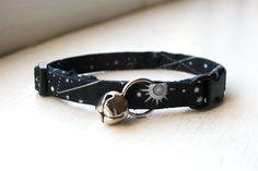 Galaxy Cat Collar, Breakaway Cat Collar, Handmade Cat Collar, Celestial Cat Accessories, Pet Accessories, Fabric Cat Collar, Black & Silver