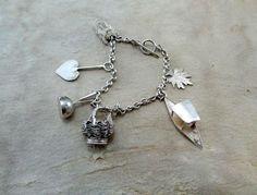 Silver Charm bracelet, vintage sterling silver bracelet, artisan silver charm, Wrapped silver Charms Bracelet, charm leaf, charm heart, OOAK by boele on Etsy