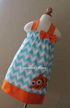 Adorable Finding Nemo Chevron Halter Style dress