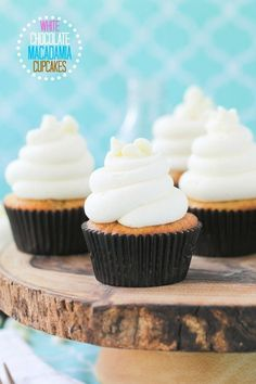 White Chocolate Macadamia Nut Cupcakes with White Chocolate Cream Cheese Frosting. You are going to LOVE these!!