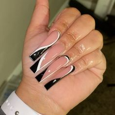 Acrylic Nail Tips, French Acrylic Nails, Square Acrylic Nails, Almond Acrylic Nails, Cute Acrylic Nails, Gorgeous Nails, Pretty Nails, Acylic Nails, Glow Nails