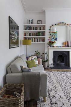 Interior Design by Imperfect Interiors at this Victorian Villa in London. Interior Design by Imperfect Interiors at this Victorian Villa in London. A palette of contemporary Farrow Living Room Grey, Home Living Room, Living Room Designs, Living Spaces, Living Room Paint Colours, Cottage Living Room Decor, Living Room Lamps, Living Room Shelving, Alcove Ideas Living Room