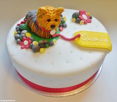 Yorkshire Terrier birthday cake lousbakinganddecorating dog Cupcake Cake Designs, Cupcake Cakes, Cupcakes, Birthday Cakes, Birthday Ideas, Specialty Cakes, Mini Cakes, Yorkshire Terrier, Eat Cake