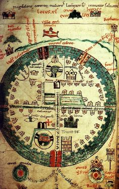 "»Map: Plan of Jerusalem conducted between 1100 and 1150. ""Original title: Gesta Francorum Iherusalem expugnantium, folio 50v. »Source: Bibliothèque d'agglomeration of Saint-Omer ."