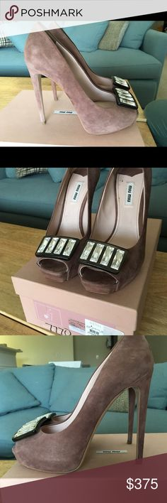 """Miu Miu Suede Dark Rose Platform Peep Toe Pump Beautiful luxury brand sky high peep toe platform pump in a dusty rose suede. Smoke and """"diamond"""" lucite toe detail. $790 retail! Worn once for 2 hours on my wedding day! In almost perfect condition and ready for a new owner. Miu Miu Shoes Heels"""