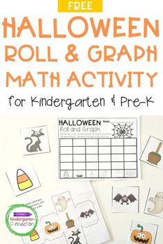 It's a little spooky with a dash of cute…it's our Halloween Roll and Graph Math Activity!  This time of year is so much fun! There are so many creative ways we get to teach our kiddos like using roll and graph activities ! Kids like to roll a die to race to the top of the graph to see who the winner is while practicing fine motor and early graphing skills. A great addition to your preschool and kindergarten math centers curriculum. #learningactivities #preschool #kindergarten…
