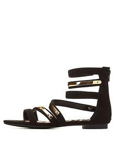 Qupid Strappy Ankle Cuff Gladiator Sandals #charlotterusse #charlottelook