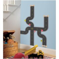 RoomMates Build-A-Road Peel & Stick Wall Decals Image 1 of 3 Wall Stickers Cars, Disney Wall Decals, Bedroom Stickers, Kids Wall Decals, Removable Wall Decals, Wall Mural, Murals, Baby Nursery Decor, Nursery Themes