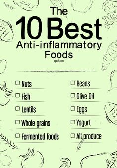 The Anti-Inflammatory Grocery List || You won't find any of these eats in the chip-and-dip aisle.   1. Any and all nuts  2. Wild salmon, mackerel, anchovies, black cod, sardines and herring   3. Lentils, beans of all kinds, brown rice  4. Extra virgin olive oil   5. Eggs, vitamin D–fortified milks, yogurts and cereals (watch the sugar content), swordfish, sockeye salmon and tuna   6. Yogurt, kefir, pickles  7. Garlic, onions, shallots, bananas, leeks, asparagus  8. All produce