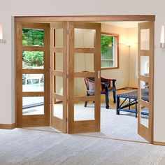 Free fold Oak Shaker 4 Pane Style Folding 4 Door Set with Clear Glass, Height 2090mm, Width 2502mm. #foldingdoors #internalfoldingdoors #'oakfoldingdoors