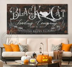 Halloween Decor Black Cat Trading Company Potions Elixers & Brews Fall Holiday Wall Art Rustic Sign Creepy Home Decor Autumn Decoration Art Halloween Signs, Halloween Decorations, Fall Halloween, Target Halloween Decor, Halloween Ideas, Halloween Wall Decor, Halloween 2020, Halloween House, Creepy Home Decor