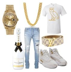 club night by losdollas on Polyvore featuring polyvore, Balmain, King Ice, Rolex, Louis Vuitton, Moët & Chandon, men's fashion, menswear and clothing