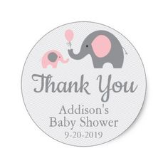 Pink Elephant Themed Baby Shower Stickers Circle Classic Round Sticker - baby gifts child new born gift idea diy cyo special unique design