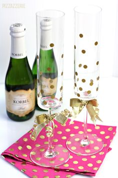 {DIY} How to Make Gold Confetti Champagne Glasses! Perfect for New Year's Eve parties!!!