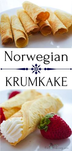 Norwegian Krumkake are similar to a Pizzelle cookie but are much thinner & crisp. Filled with whipped cream & berries, this dessert is simple & impressive! Norwegian Waffles, Norwegian Cuisine, Norwegian Food, Norwegian Recipes, Pizzelle Cookies, Waffle Cookies, Gourmet Recipes, Cookie Recipes, Dessert Recipes