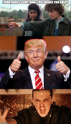 Eleven is very angry at Donald Trump - Stranger Things - Box TV Meme Watch Stranger Things, Stranger Things Have Happened, Stranger Things Aesthetic, Stranger Things Season 3, Stranger Things Netflix, Donald Trump, Saints Memes, Funny Memes, Hilarious