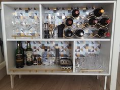 IKEA Valje Shelf Unit Hacked and customized into bar cabinet