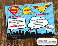 Super Hero Birthday Invitation Comic Book Invite by colorsofsummer Superman Invitations, Superhero Birthday Invitations, Wonder Woman Wedding, Wonder Woman Party, Superman Wedding, Wedding Stationery, Wedding Invitations, February Baby, Summer Bridal Showers