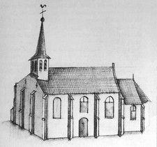 Tekeningen van de oude kerk van Meerveldhoven van de hand van landmeter Hendrik Verhees uit 1788.