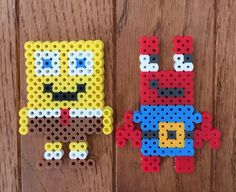 SpongeBob and Mr. Krabs Perler Beads