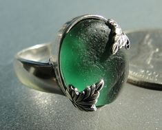 HL Sea Glass & Beach Glass Jewelry, beautiful teal sea glass leaf ring