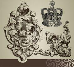 Illustration of Baroque ornaments vector art, clipart and stock vectors. Wood Carving Designs, Wood Carving Patterns, Filigrana Tattoo, Baroque, Gothic Pattern, Image Digital, Keys Art, Scroll Pattern, Filigree Design
