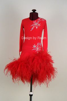 Junior Latin Ballroom Dress - SOLD Fluorescent Red Luxury Dance Crepe, Red Ostrich Feathers, Lace Appliqué with Crystal AB (Front)