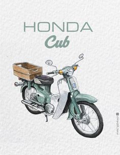 The family's best loved pet – HONDA 1973 . Ink and Watercolor Das beliebteste Haustier der Familie – HONDA . Honda Cub, C90 Honda, Motorcycle Posters, Motorcycle Art, Women Motorcycle, Bike Illustration, Illustration Artists, Watercolor Illustration, Cubs Wallpaper