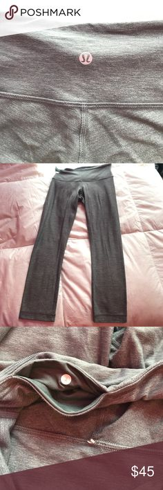 lululemon grey wunder unders very soft grey leggings from lululemon. some pilling throughout but not noticeable when wearing. cropped version. tag came off but there still a sticker in secret pocket. WILLING TO TRADE FOR SIZE 4 CROPPED lululemon athletica Pants Leggings