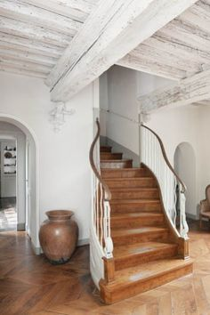 wonderful old beams, a gracious staircase & flooring—perfect