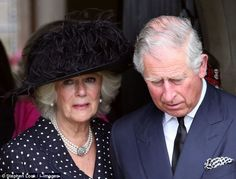 Camilla and Prince Charles leave the church after the service in memory of her brother Mark Shand 1 May 2014