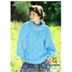 Hayfield Lady's Grampian chunky roll collar sweater knitting pattern 2416 Listing in the Sweaters & Clothes,Patterns,Knitting & Crochet,Crafts & Sewing Category on eBid United Kingdom