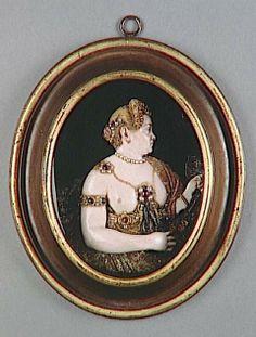 Wax Portrait Medallion: Portrait of a Woman as Diana the Huntress. Italian, 16th century. Wax, garnets, and pearls. From the RMN-Grand Palais (Musée de la Renaissance, Château d'Ecouen)