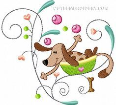 """This free embroidery design is the """"Happy Dog"""".                                                                                                                                                                                 Mehr"""