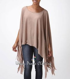 S Solid Regular Size Poncho Sweaters for Women Poncho Sweater, Vintage Bohemian, Loose Fit, Boho Chic, Taupe, Kimono Top, Tunic Tops, Retro, Medium