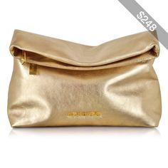 Michael Kors Handbags Daria Pale Gold Leather Fold Over Clutch