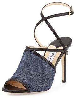 fc139785b14b SALE Jimmy Choo Flora Leather Crisscross Sandal