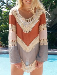 Alluring V-Neck Long Sleeve Hollow Out Asymmetrical Cover Up For Women