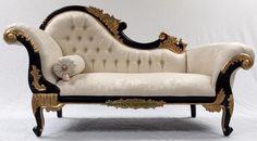 Black & Gold mahogany frame chaise longue with ivory cream fabric Ornate… Old World Furniture, Victorian Furniture, Unique Furniture, Reupholster Furniture, Sofa Furniture, Corner Cabinet Dining Room, Sala Vintage, Wooden Sofa Set Designs, Front Door Design Wood